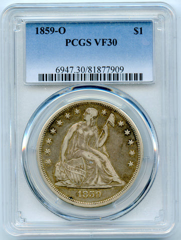 1859-O PCGS VF30 Seated Liberty Silver Dollar