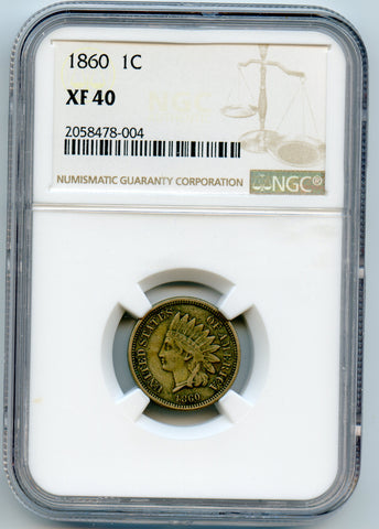 1860 NGC XF40 Copper Nickel Indian Head 1c , Original!