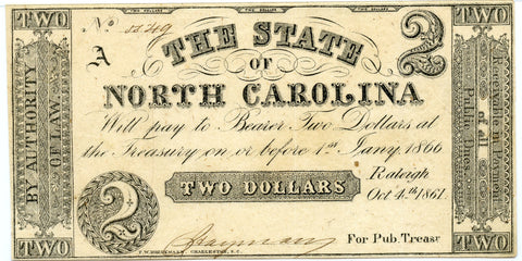 Genuine 1861 The State of North Carolina $2 Civil War Era Note, VF/XF details!