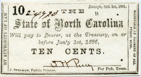 Genuine 1861 State of North Carolina 10c Civil War Era Note, Nice AU Details!