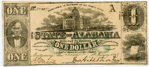 Genuine 1863 $1 Alabama Confederate States Note. Green Overprint.