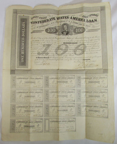 Genuine 1863 Confederate States $100 Bond