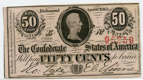 Genuine 1863 Confederate States 50c Note. VF/XF Condition. Nice Color!