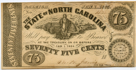 Genuine 1863 State of North Carolina 75c Civil War Era Note, Crisp Uncirculated!