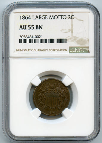 1864 NGC AU55 Brown Large Motto 2c, Even Color, Slight Reverse Rotation!