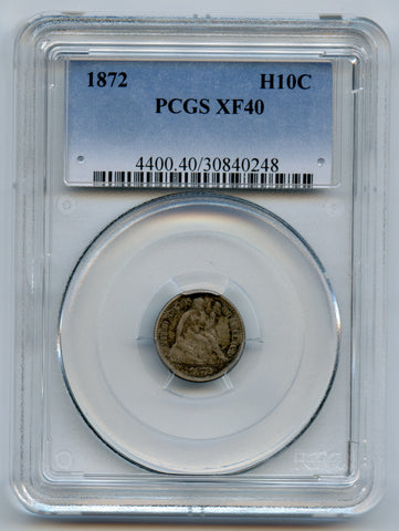 1872 PCGS XF40 Silver Half Dime, Great Detail, Nice & Original!