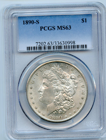 1890-S PCGS MS63 Morgan Dollar, Brilliant!