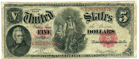 "Series of 1907 $5 ""WoodChopper"" United States Legal Tender Note, VG+ condition"