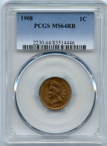 1908 PCGS MS64RB Indian Head 1c