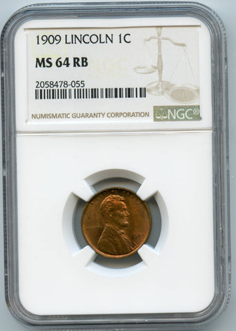 1909 NGC MS64RB Lincoln 1c, Nice even color!