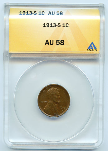 1913-S 1c ANACS AU58 Lincoln, Nice even brown color