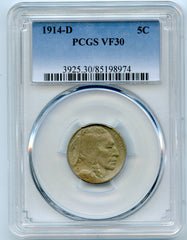 1914-D PCGS VF30 Buffalo/Indian Head 5c