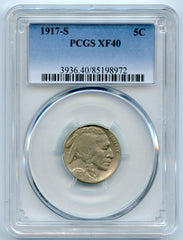 1917-S PCGS XF40 Buffalo/Indian Head 5c