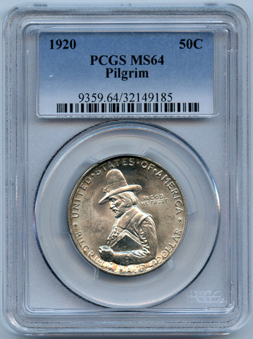 1920 Pilgrim PCGS MS64 Silver Commemorative 50c, Outstanding luster!