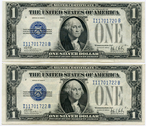 1928B (One off Consecutive Serial #s) XF/AU $1 Silver Certificates
