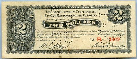 Genuine 1933 City of Gastonia, NC $2 Tax Anticipation Certificate, XF Detail!