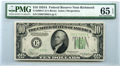 1934A PMG 65 EPQ $10 Federal Reserve Note Richmond