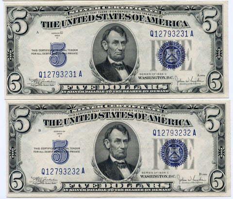 2 Consecutive Serial # 1934-C $5 Silver Certificates, Crisp Uncirculated Condition!