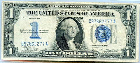 "Genuine Series 1934 $1 ""Funny Back"" Error Silver Certificate Note, Gutter Fold Error, VF Detail!"