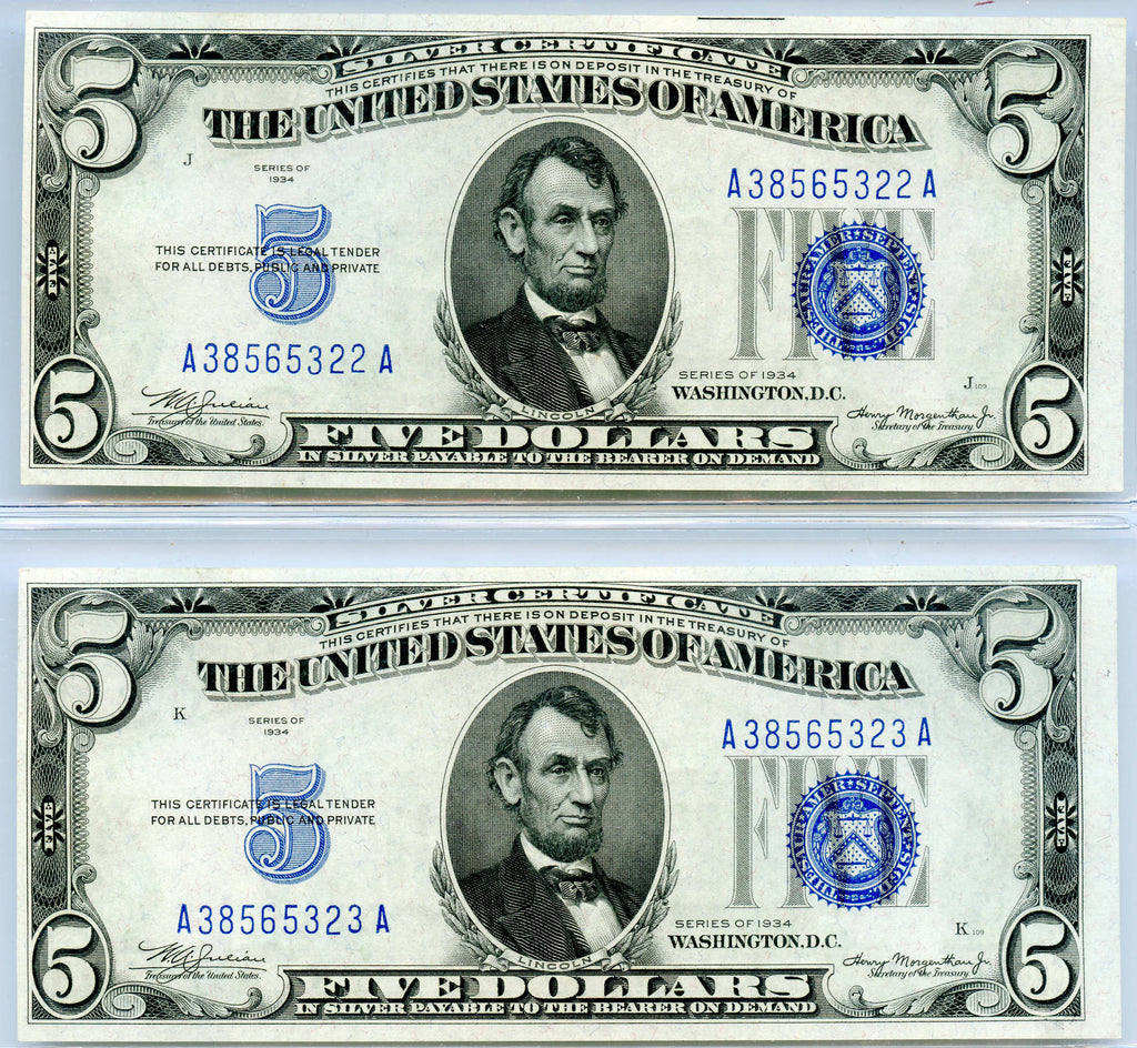 2 Genuine Series 1934 5 Consecutive Serial Silver Certificate