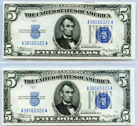 2 Genuine Series 1934 $5 Consecutive Serial # Silver Certificate Notes, Choice CU details
