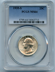 1935-S PCGS MS64 Silver Washington 25c