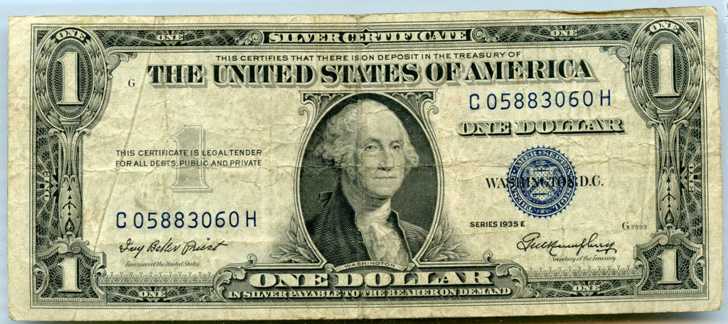 Genuine Series 1935 E 1 Silver Certificate Gutter Error Note A