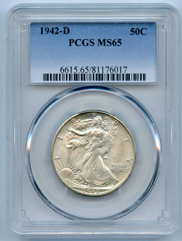 1942-D PCGS MS65 Silver Walking Liberty 50c