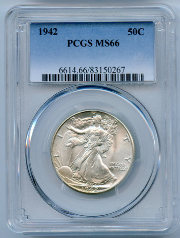 1942 PCGS MS66 Silver Walking Liberty 50c
