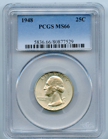 1948 PCGS MS66 Silver Washington 25c