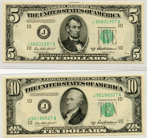 Genuine Series 1950-B U.S. $5 & $10 Federal Reserve Notes. Kansas City District. Crisp Uncirculated