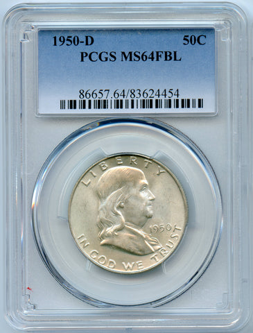1950-D PCGS MS64 Full Bell Lines Silver Franklin 50c