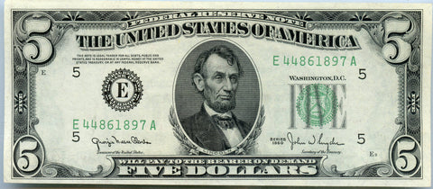 Series 1950 $5 Federal Reserve Note, Richmond,VA District. Crisp UNC. Details