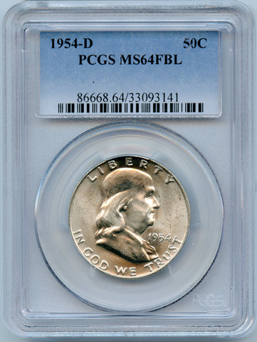 1954-D PCGS MS64 Full Bell Lines Silver Franklin 50c, Great Luster!