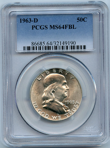 1963-D PCGS MS64 Full Bell Lines Silver Franklin 50c Brilliant!