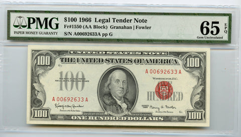 Series 1966 $100 Legal Tender Note PMG 65, Exceptional paper quality!