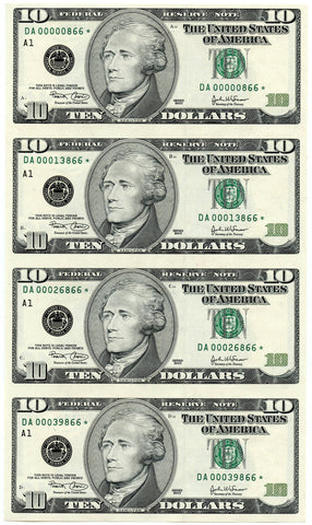"2- Series 2003 $10 Federal Reserve ""Star"" Note Consecutive Serial # Uncut Sheets!"