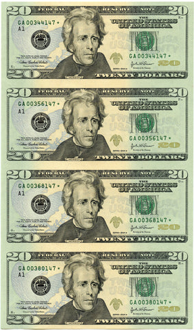 "2- Series 2004 A $20 Federal Reserve, Consecutive Serial # ""Star"" Note Uncut Sheets!"