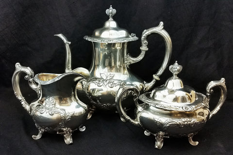 Burgundy by Reed and Barton Sterling Silver Estate 3 Piece Coffee Set