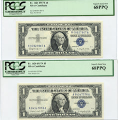 1957A & 1957B $1 Silver Certificates PCGS Superb Gem New 68PPQ!