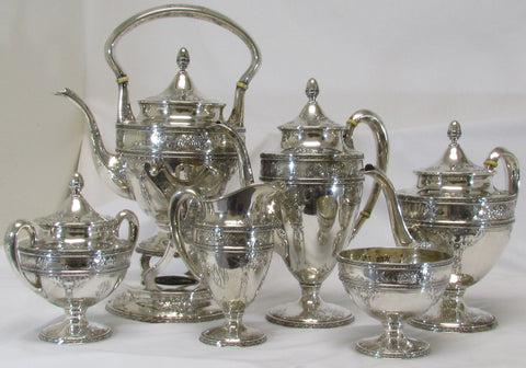 "6 Pc. Sterling Silver Tea set in the pattern ""Charleroi"""