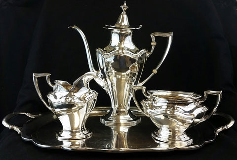 Estate Reed and Barton Sterling Silver 3 pc. Coffee Set with Sterling Tray