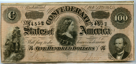 1864 Richmond Issue Confederate States of America $100, VF+ Detail!
