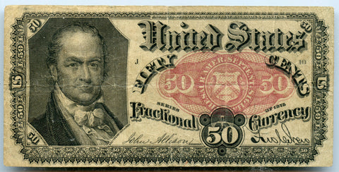 Genuines Series 1875 50c U.S. Fractional Currency Note, Fine + Condition