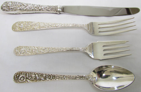 "4 Pc. ""Repousse"" Sterling Place Setting by S. Kirk and Son."