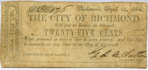 Genuine 1862 City of Richmond, VA 50c Civil War Era Note, Fine Details!