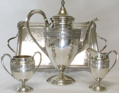 "Distinctive 3 pc. Sterling Coffee Set in the pattern ""Wedgewood"" by International accompanied by English Silverplated Tray"