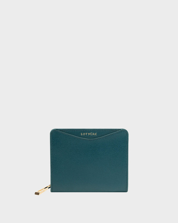 Zip Around Small Wallet Green Navy