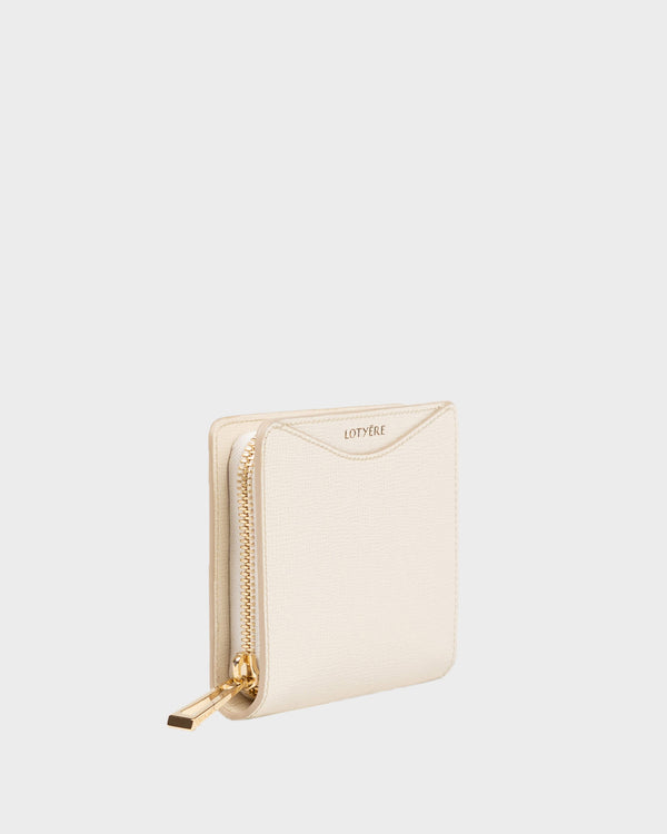 Zip Around Small Wallet White Parchment