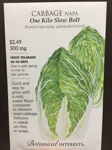 Seed Packet Cabbage One Kilo Slow Bolt